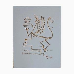 Créature Surréaliste Lithographie von Jean Cocteau