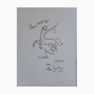 Paul Valery Lithograph by Jean Cocteau