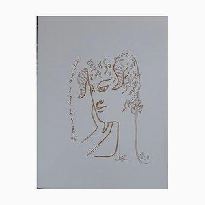Jean Cocteau - A la vitre d'hiver, Lithographie