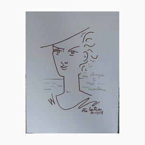Un Soupir te Rend Incertaine Lithograph by Jean Cocteau