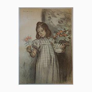 Bouquetière Lithograph by F Bouisset, 1897