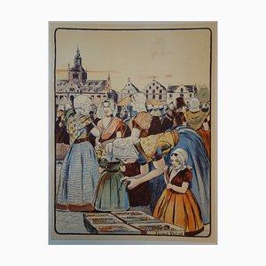 Fernand Piet - Un marché en Zélande, Lithographie originale signée (1897)