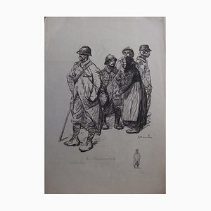 At the Cantonment Lithograph by Théophile-Alexandre Steinlen