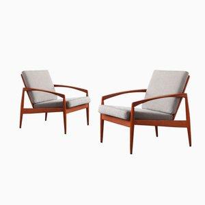 Grey Fabric Armchairs by Kai Kristiansen for Magnus Olesen, Set of 2