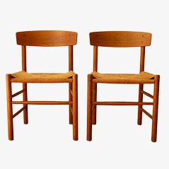 J39 Model Oak Chairs by Børge Mogensen for FDB Mobler, Set of 2