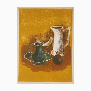 André MINAUX Still life with pitchers riginal lithograph