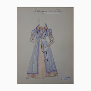 Aristocrate de Venise Drawing by R. Charbo