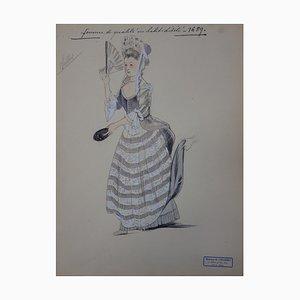 Femme de Qualité en Habit d'Este Drawing by R. Charbo