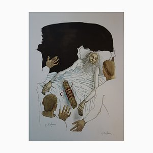 Le Vieillard et ses Enfants Lithograph by Georges Rohner