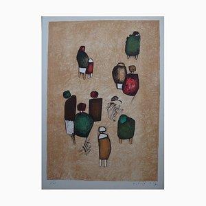 Small Joyous Group Lithograph by Witold Leszek Kaczanowski