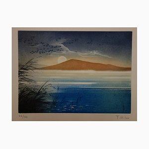 Lac Bleu Engraving by France Hilon