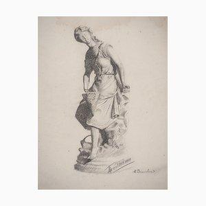 Feminines Portrait des 19. Jahrhunderts Zeichnung von M Guillaume, 1895