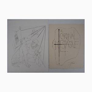 Le Aardinal d'Espagne Engravings by Pierre-Yves Tremois, Set of 2