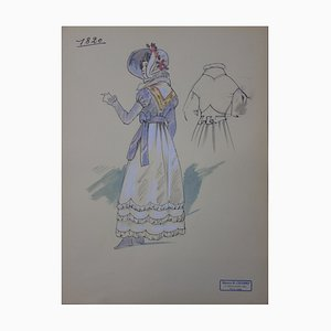 Costume à la Louis XVIII Drawing by R. Charbo