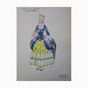Dame der Zeit von Louis XV Zeichnung von R. Charbo