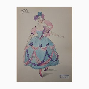 Dessin de Mode de Robe du XVIIIème di R. Charbo