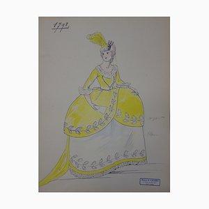 Disegno Ball Gown of the late 18th century di R. Charbo, fine XVIII secolo