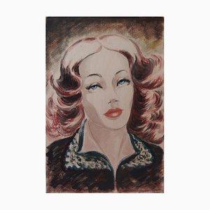Ninon au Cheveux de Feu Gouache by Claire Vergez, 1939