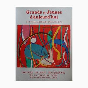 Litografia Composition on Orange Background di André Lanskoy, 1984