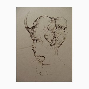 Faun Head Engraving by Léonor Fini, 1970s