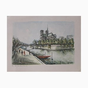 Paris, Our absolute Notre Dame and the Seine Lithograph by Claude Ducollet