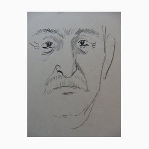 Male Portrait Drawings by Georges Manzana-Pissarro, Set of 2