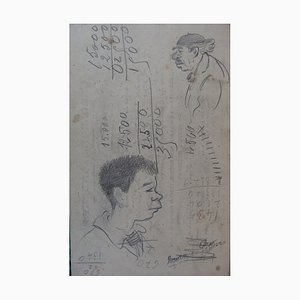 Man from Profile Drawings by Georges Manzana-Pissarro, Set of 2