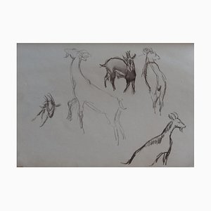 The Goats I Drawing by Georges Manzana-Pissarro