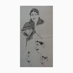 The Faces Drawing by Georges Manzana-Pissarro