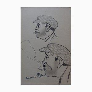 Trois Hommes de Profil Zeichnungen von Georges Manzana-Pissarro, 2er Set