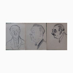 Trois Hommes Drawings by Georges Manzana-Pissarro, Set of 3