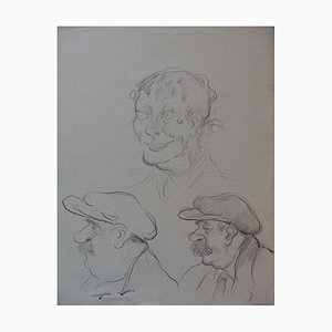 Three Faces Drawing by Georges Manzana-Pissarro
