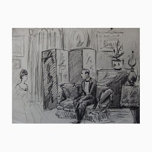 Meeting at the Salon Ink Drawing by Henriot