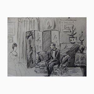 Meeting at the Salon Tuschezeichnung von Henriot