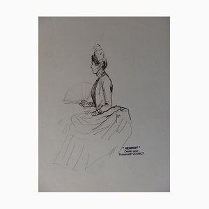 Woman Waiting for her Suitor Indian Ink Drawing by Henriot