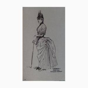 Elegant Woman Ink Drawing by Henriot