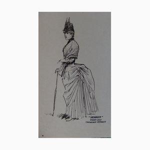 Henri MAIGROT aka HENRIOT - Elegant woman, original ink drawing