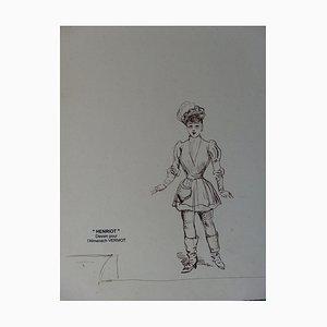 Hommage à Sarah Bernhardt Tuschezeichnung von Henriot