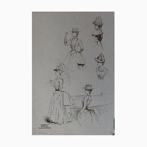 Promenade d'été Ink Drawing by Henriot