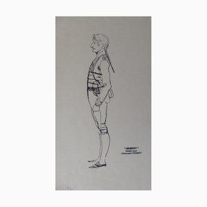 Soldat de Profil Ink Drawing by Henriot