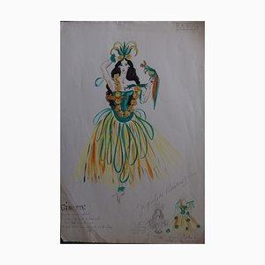 Hawaï Toi Vert Moi Watercolour by Jacqueline Ruinet