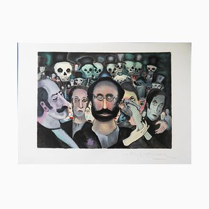 The Sad Crowd Lithograph by Marcel Marceau