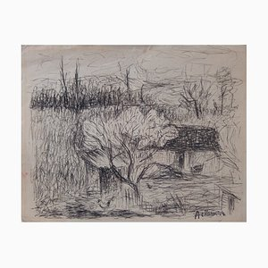 La Ferme Drawing by Paul Ackerman