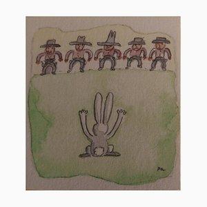 Haut les Mains, Peau de Lapin Watercolor by Fernando Puig Rosado