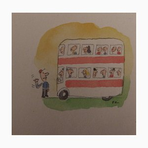 Les Transports en Commun Watercolor by Fernando Puig Rosado