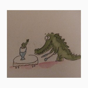 Fernando PUIG ROSADO - Naissance d'un crocodile, Aquarelle