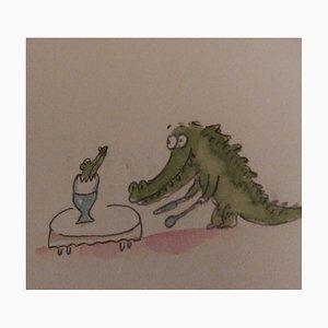Naissance d'un Krokodil Aquarell von Fernando Puig Rosado