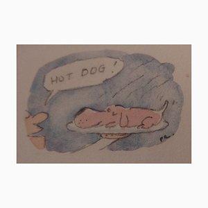 Hot Dog Watercolor Press Drawing by Fernando Puig Rosado