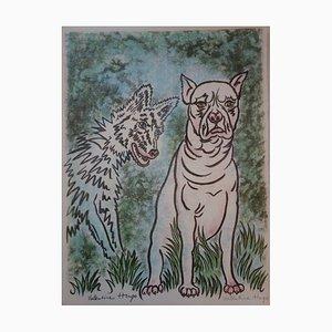Valentine HUGO - Le loup et le chien, Lithographie originale, signé
