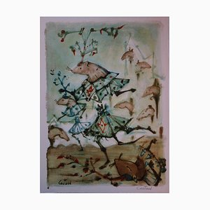 Le Combat des Rats et des Belettes Lithograph by Lucien Coutaud